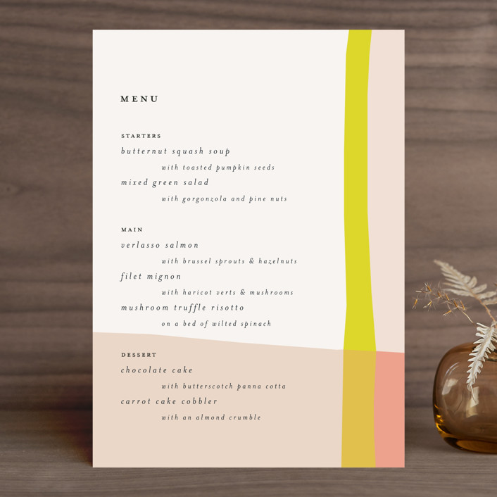 """Color Block"" - Modern Menu Cards in Blush by Morgan Kendall."