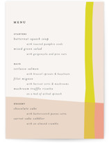 This is a pink menu card by Morgan Kendall called Color Block with standard printing on signature in standard.