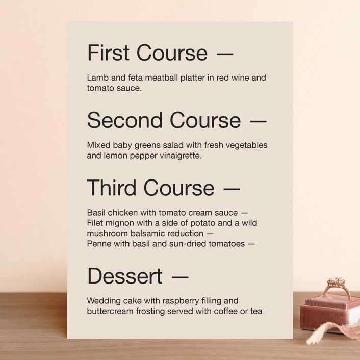 """Proposal"" - Menu Cards in Buff by Jack Knoebber."
