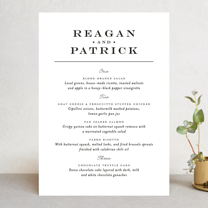 """""""Library Square"""" - Menu Cards in Charcoal by Little Words Design."""