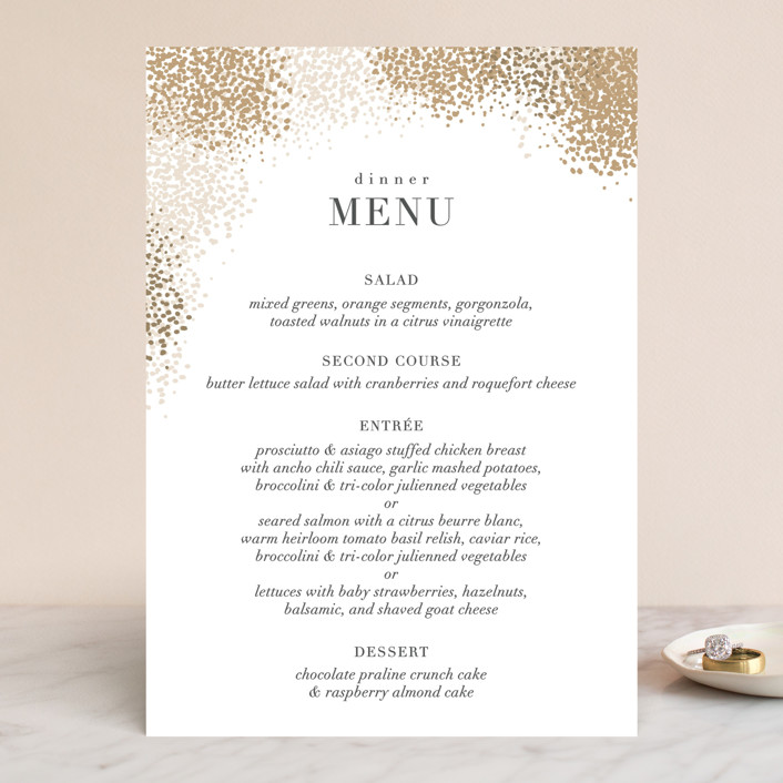 """Organic Dots"" - Bohemian Menu Cards in Champagne by lena barakat."