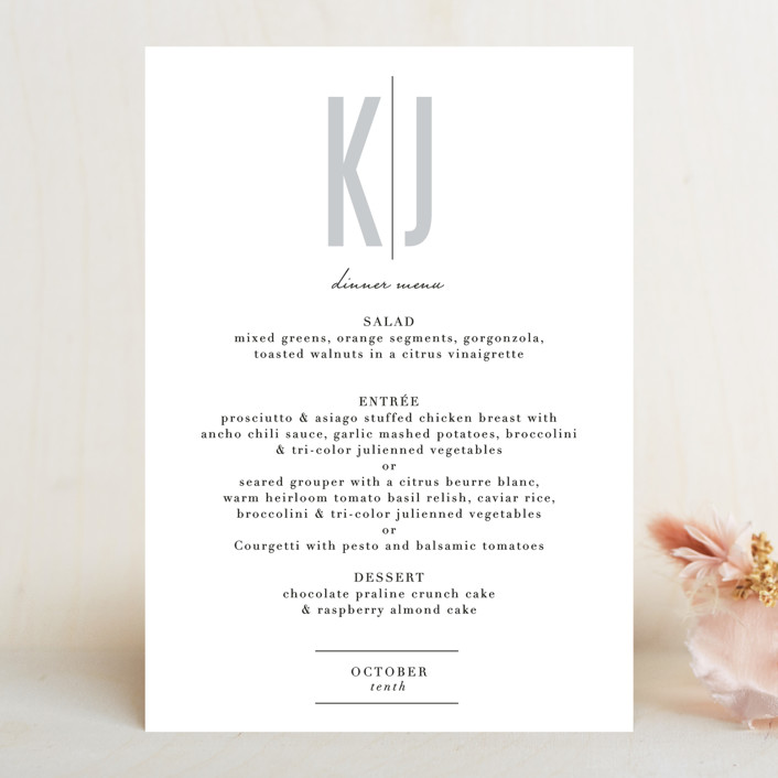 """""""Monumental"""" - Menu Cards in Cotton by Jessie Steury."""