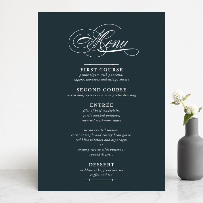 """Traditional"" - Menu Cards in Navy by lena barakat."