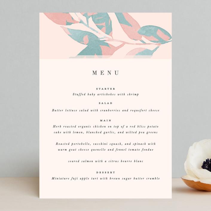 """Boho botanics"" - Menu Cards in Coral by Creo Study."