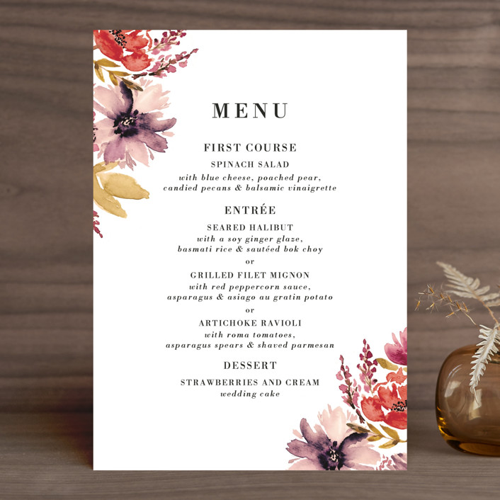 """Autumn Vows"" - Menu Cards in Burnt Orange by Chris Griffith."