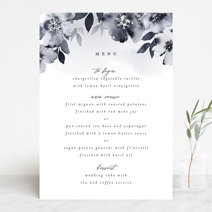 """Fancifully"" - Menu Cards in Navy by Everett Paper Goods."