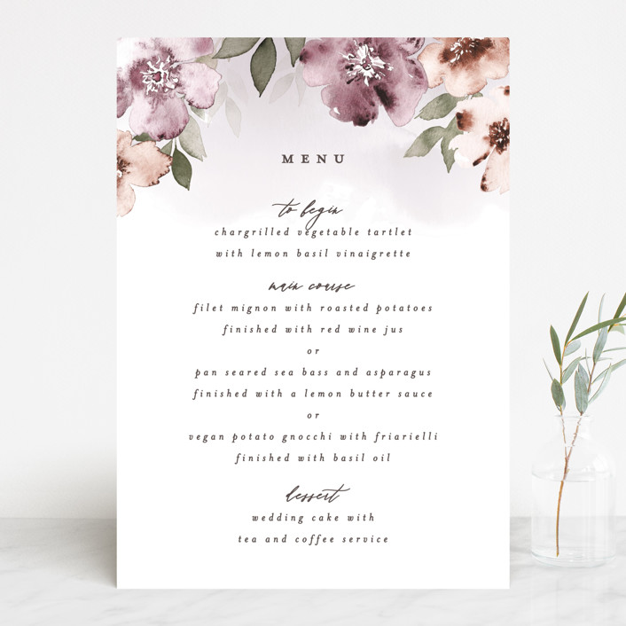 """""""Fancifully"""" - Menu Cards in Dust Mauve by Everett Paper Goods."""