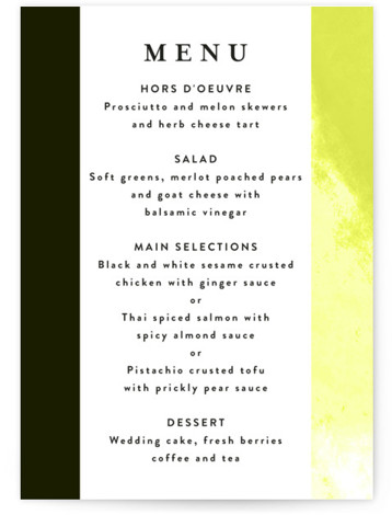This is a modern, painterly, green Menus by Lea Velasquez called Upper Block with Standard printing on Signature in Classic Flat Card format. A modern take on wedding invite featuring black and hand painted abstract