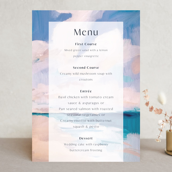 """Sand & Sun"" - Menu Cards in Ocean by Nicole Walsh."