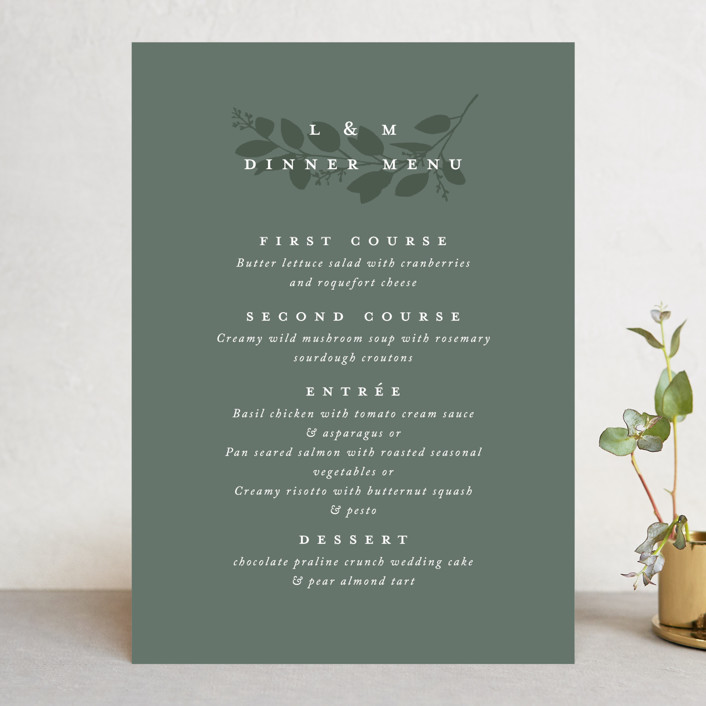 """Falling Branch"" - Menu Cards in Eucalyptus by Amy Kross."
