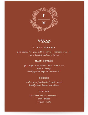This is a classic and formal, red Menus by 2birdstone called French Roses with Standard printing on Signature in Classic Flat Card format. Vintage rose etchings surround your modern monogram to give this wedding invitation a sophisticated yet fresh feel. ...