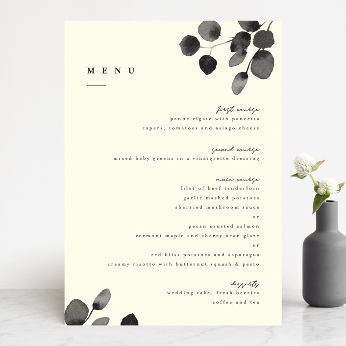 """Silver Dollar Eucalyptus"" - Menu Cards in Ivory by Four Wet Feet Studio."