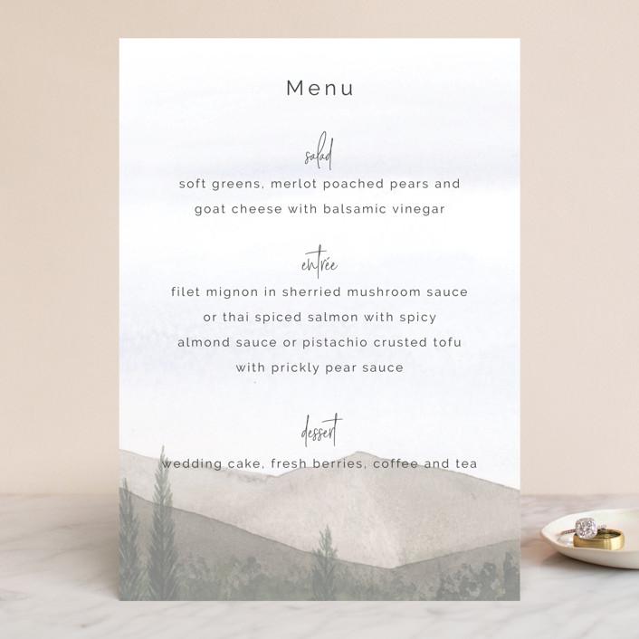 """""""muted mountains"""" - Rustic Menu Cards in Splendid Day by Deborah Chou."""