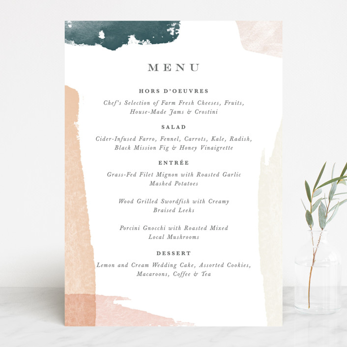 """Overlapping"" - Modern Menu Cards in Blush by Jennifer Wick."