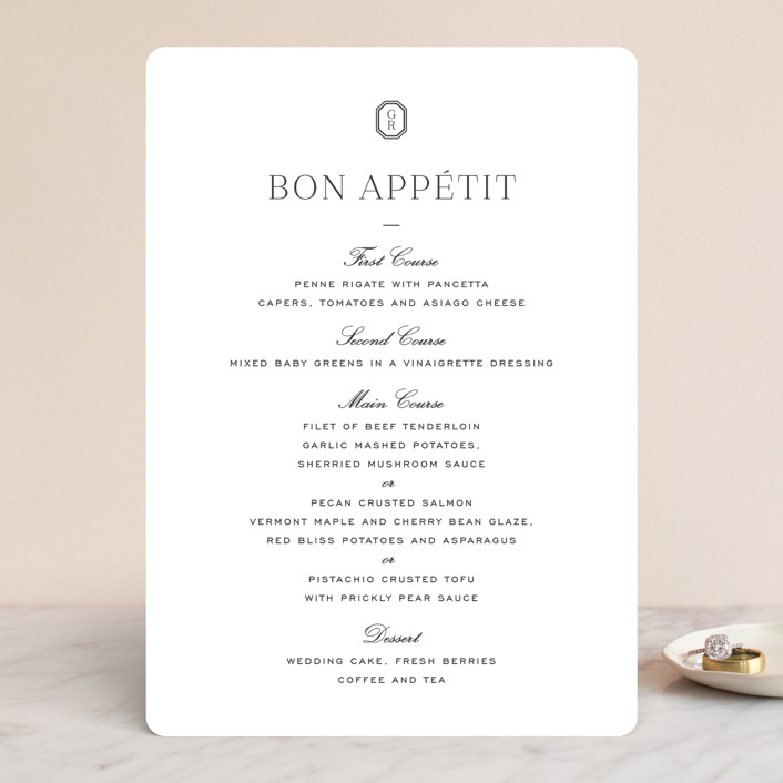 """""""Upper East"""" - Menu Cards in Charcoal by Toast & Laurel."""