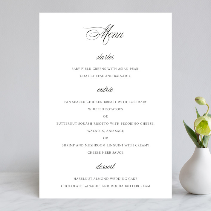 """Legacy"" - Menu Cards in Pure by Design Lotus."