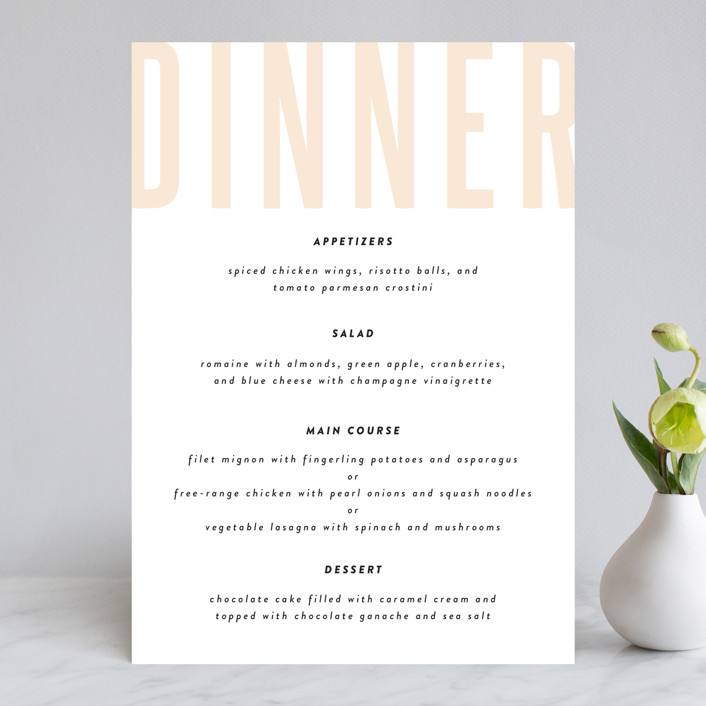 """""""With Great Joy"""" - Menu Cards in Peach by Up Up Creative."""