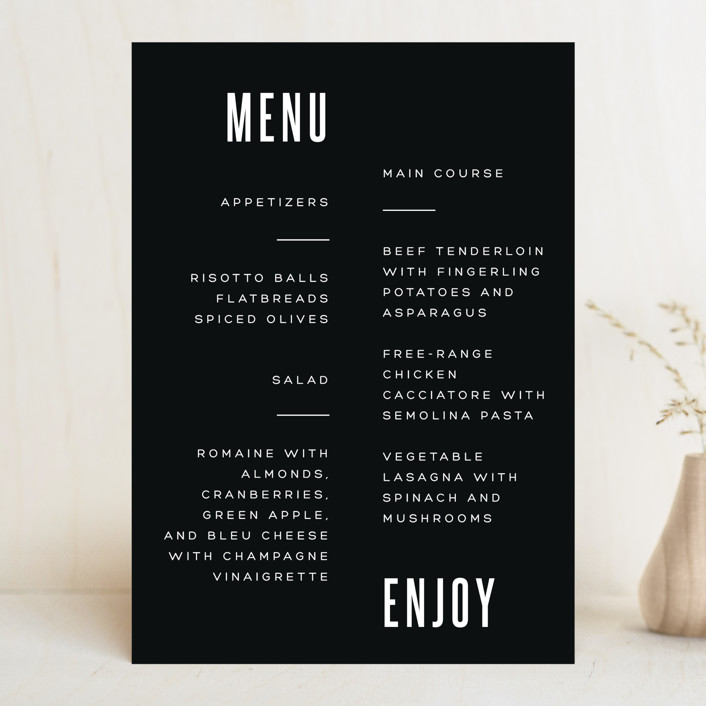 """""""Offset"""" - Menu Cards in Ebony by Up Up Creative."""