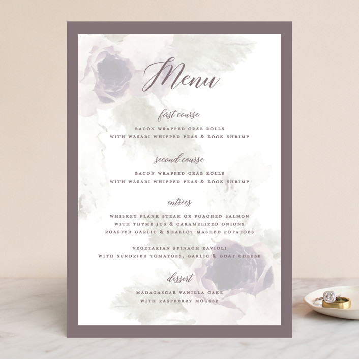 """rose drop"" - Menu Cards in Rose by Cassandra Imagines."