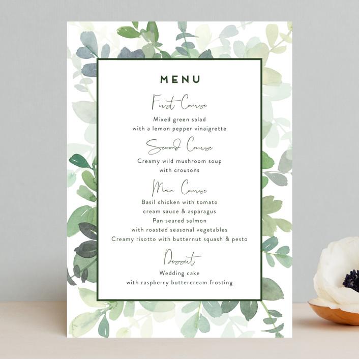 """""""Soft Eucalyptus"""" - Menu Cards in Garden by Yao Cheng Design."""