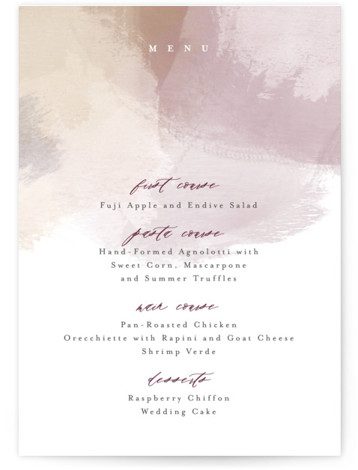 This is a modern, painterly, purple Menus by Carrie ONeal called Morning Mist with Standard printing on Signature in Classic Flat Card format. An elegant and painterly wedding invitation.