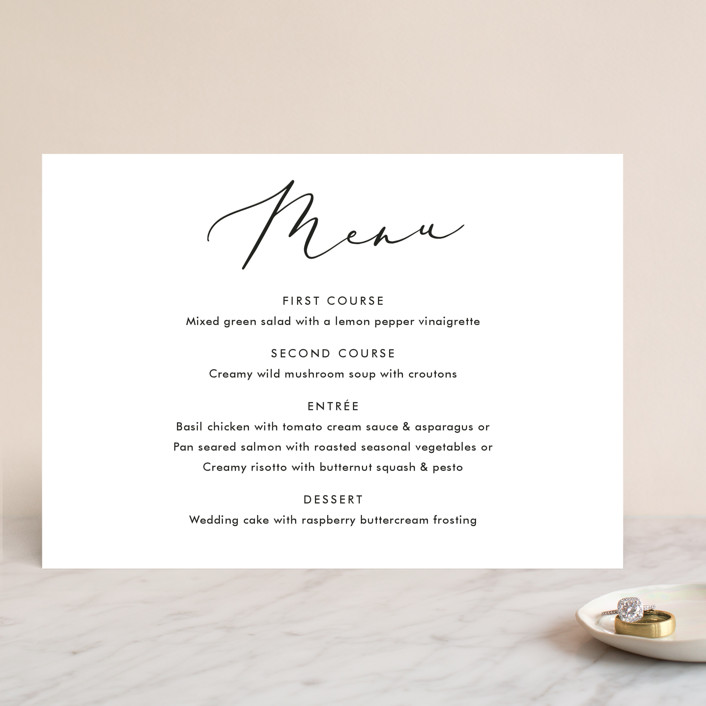 """Scripted Romance"" - Menu Cards in Classic by Katherine Moynagh."