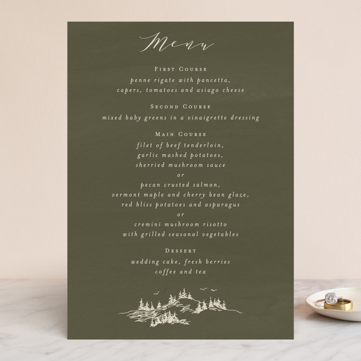 """into the mountains"" - Rustic Menu Cards in Olive by Halik Helen."