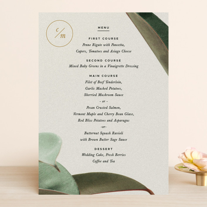 """Powder Room Florals"" - Menu Cards in Cream by Ariel Rutland."