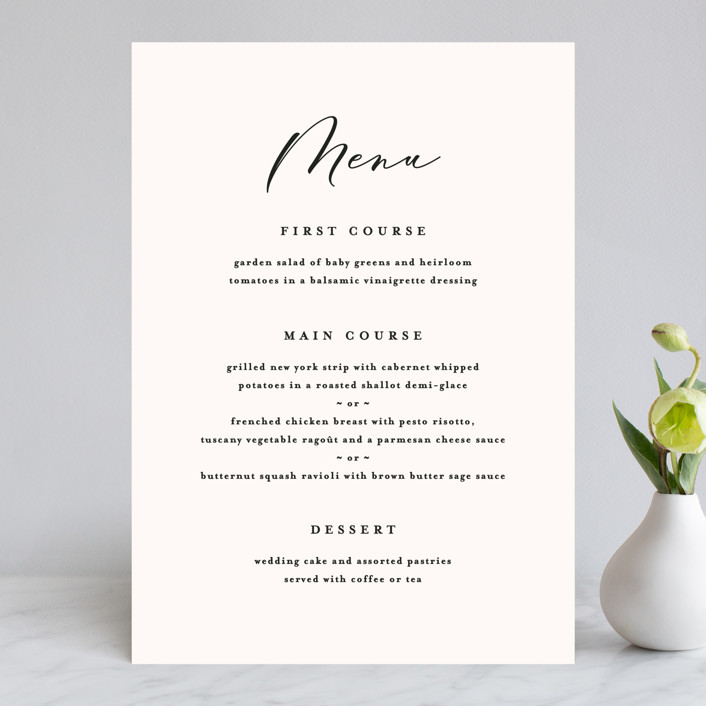 """Eternal"" - Menu Cards in Ecru by carly reed walker."