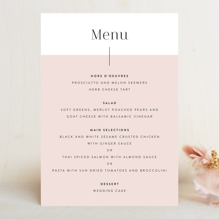 """The Ace"" - Menu Cards in Petal by Smudge Design."