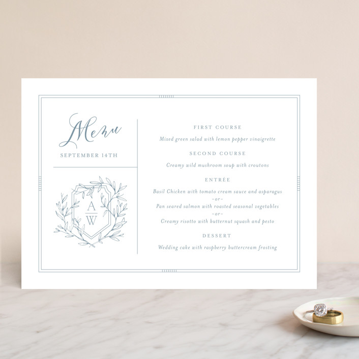 """Love Beyond Measure"" - Menu Cards in Mineral by Oscar & Emma."