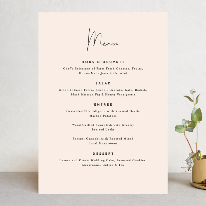 """Just the Two of Us"" - Menu Cards in Blush by Jennifer Wick."