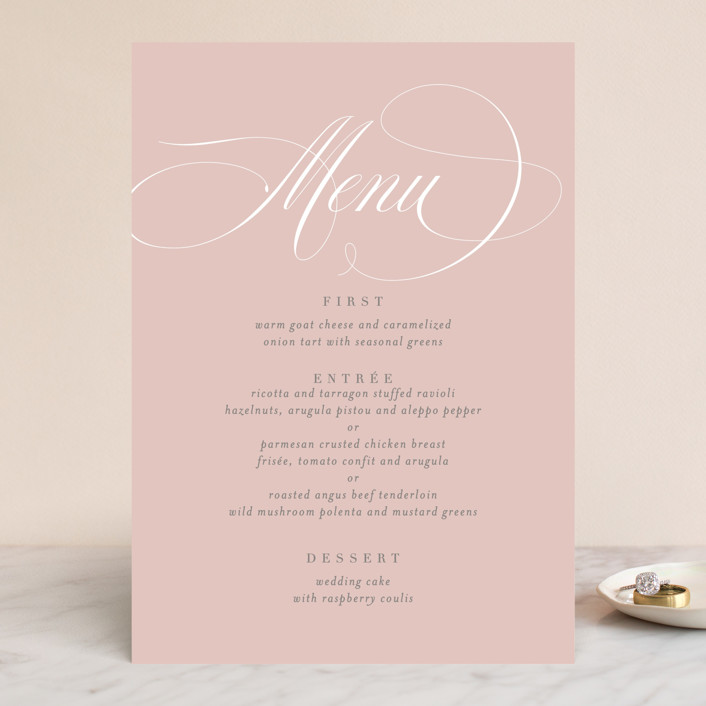 """Gramercy"" - Menu Cards in Blush by Kristie Kern."