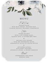 This is a blue menu card by Chris Griffith called Nantucket Romance with standard printing on signature in standard.