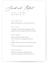 This is a white menu card by Kelly Schmidt called Corison with standard printing on signature in standard.