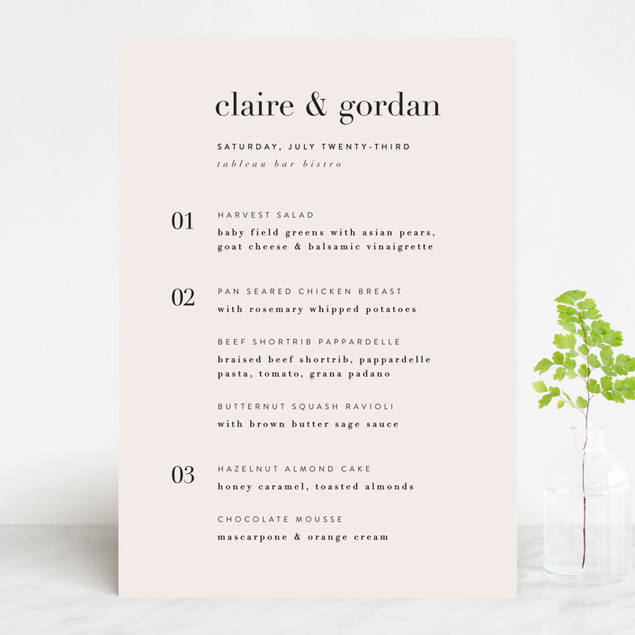 """""""The Loden"""" - Menu Cards in Ivory by Kelly Schmidt."""