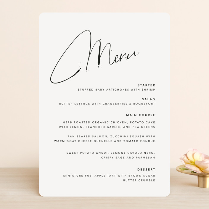"""""""Signature Style"""" - Menu Cards in Ink by Design Lotus."""