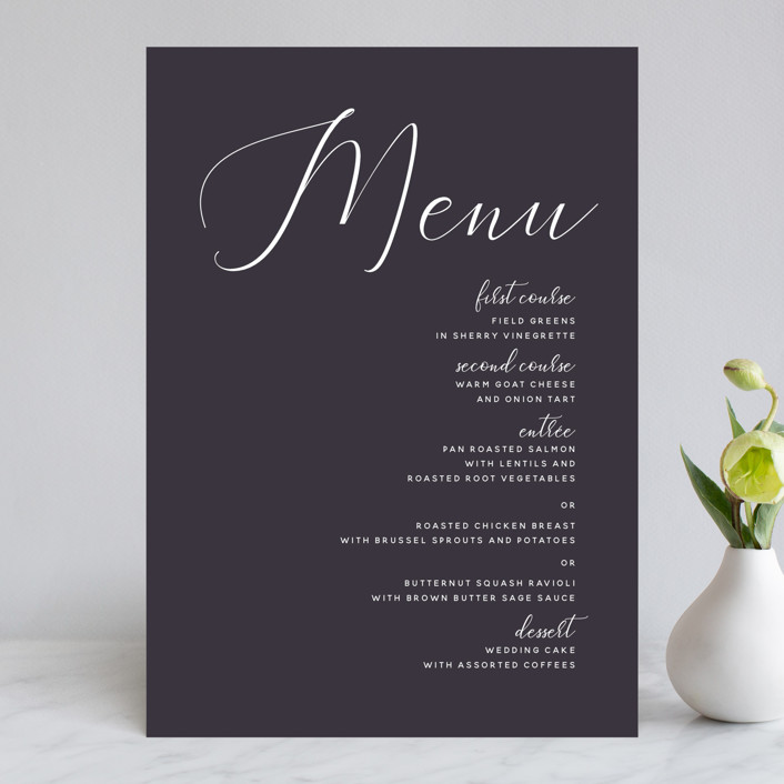 """Right Side"" - Menu Cards in Blackberry by Susan Brown."