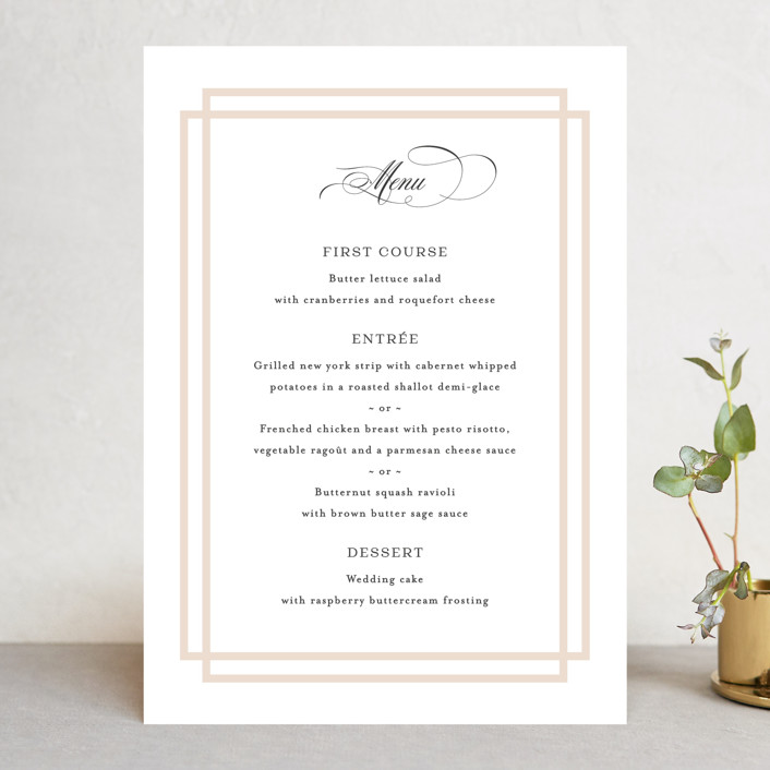 """Timeless Love"" - Menu Cards in Blush by Carolyn MacLaren."