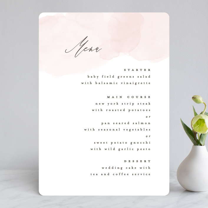 """""""Softly Layered"""" - Menu Cards in Blush by Everett Paper Goods."""
