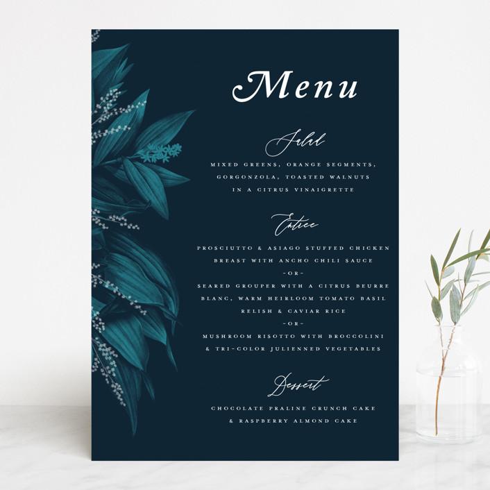 """Moonlit Garden"" - Menu Cards in Twilight by GeekInk Design."