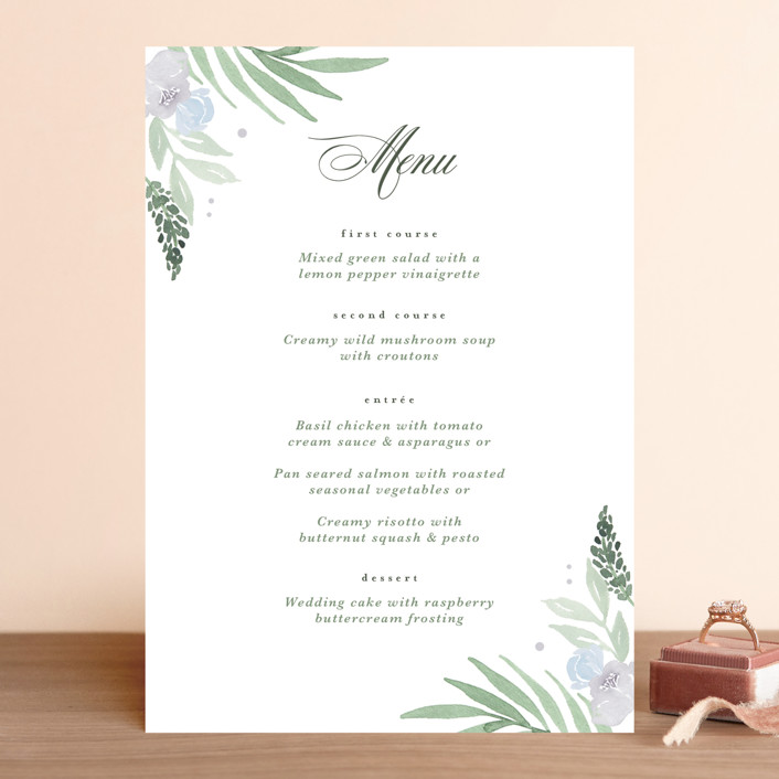"""Botanical Seal"" - Menu Cards in Pastel by Kristen Smith."