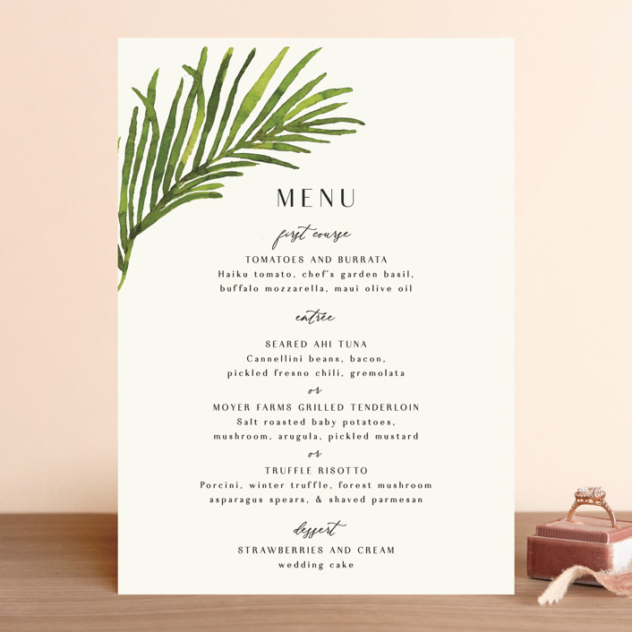 """""""Tropical Vows"""" - Menu Cards in Jade by Chris Griffith."""