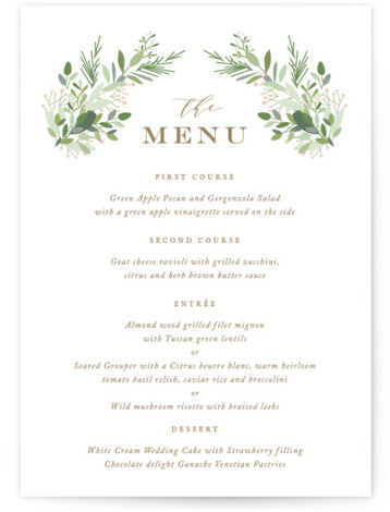 This is a pink Menus by Jennifer Postorino called Fresh Greenery with Standard printing on Signature in Classic Flat Card format. A beautiful mix of hand drawn greenery adorns elegant type.