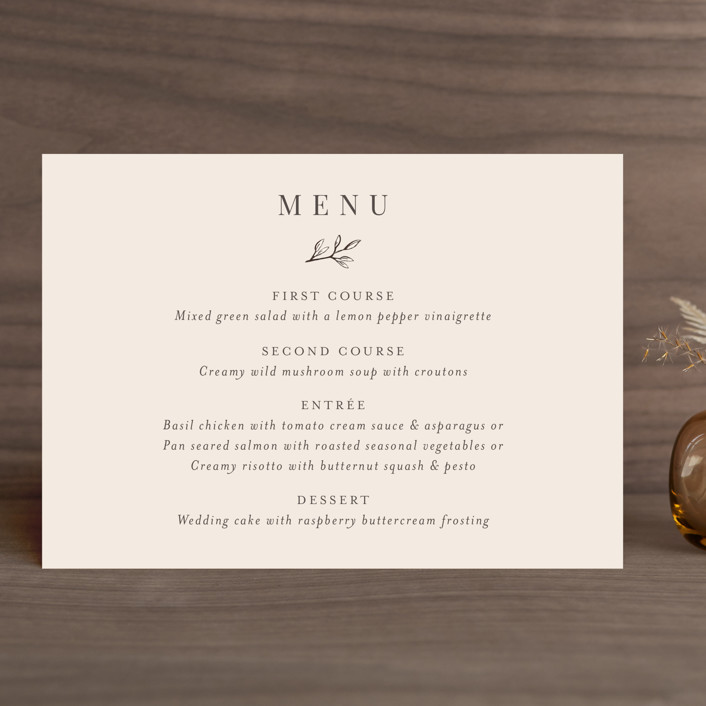 """Leafy Branch"" - Menu Cards in Latte by Katherine Moynagh."