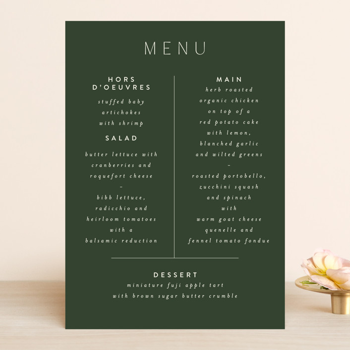 """Harmony"" - Menu Cards in Noir by Nazia Hyder."