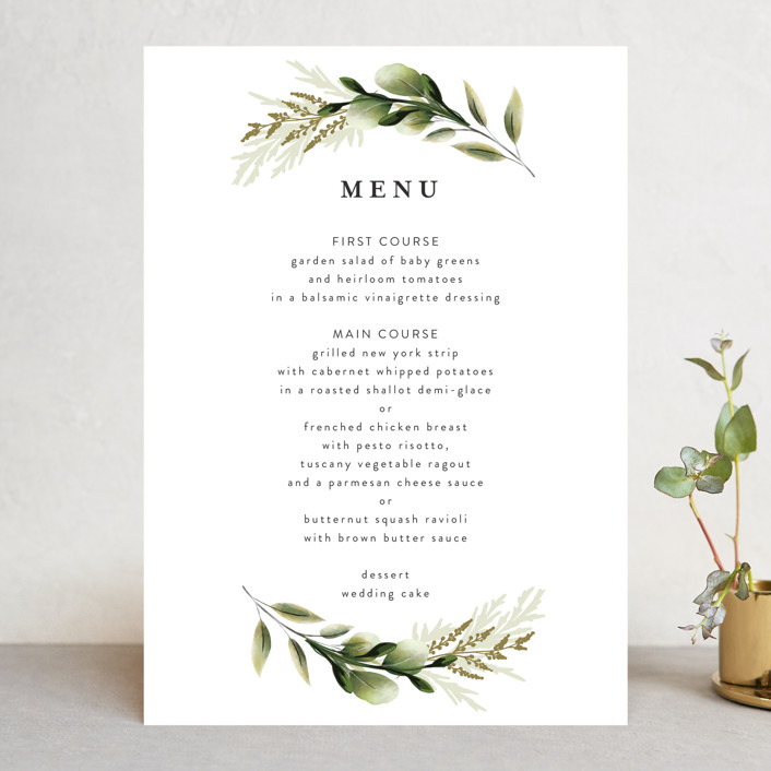 """""""Enchanted Greenery"""" - Menu Cards in Frost by Susan Moyal."""