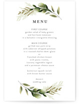 This is a white menu card by Susan Moyal called Enchanted Greenery with standard printing on signature in standard.