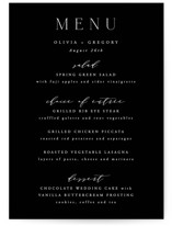 This is a white menu card by Hooray Creative called Classy Type with standard printing on signature in standard.