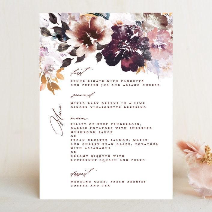 """Lush Bouquet"" - Menu Cards in Autumn by Phrosne Ras."